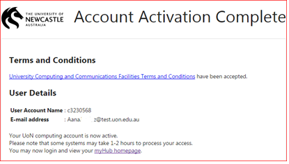 Account activation complete page