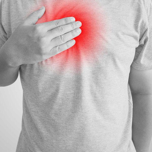 Person suffering heartburn