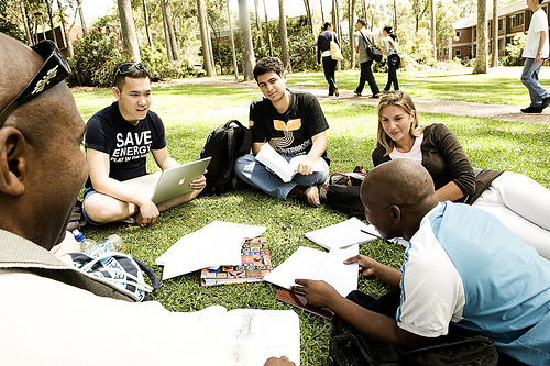 Student Sitting on grass studying