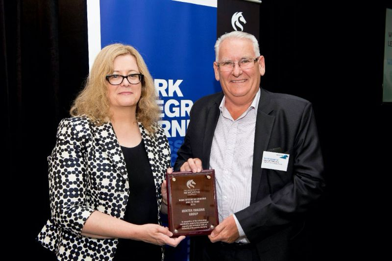 Mr Peter Shultz, Hunter Imaging Group CEO, receiving the WIL Hall of Fame Award from Vice-Chancellor and President, Professor Caroline McMillen