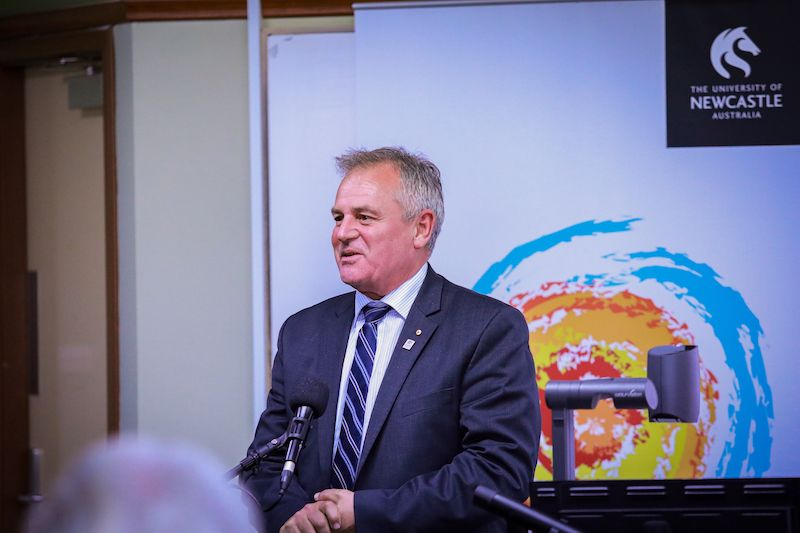 Speaker welcoming guests to the University of Newcastle