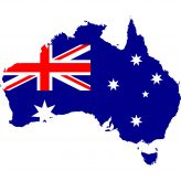 Picture of Australia with the flag