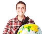 Student holding globe