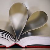 Pages of a book curved to make a heart