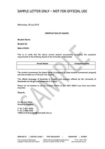 Sample letter - Verification of Award