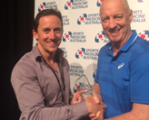 Professor Philip Morgan with General Manager of Asics Oceania Mark Doherty at the 2015 Asics Sports Medicine Australia Conference.