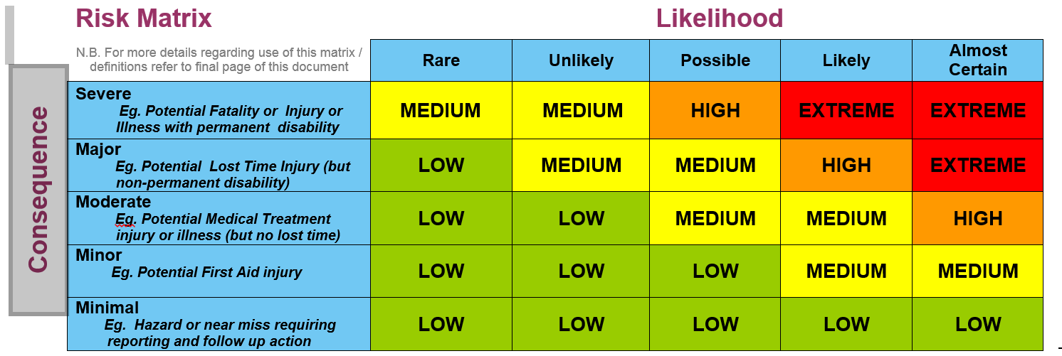 Risk assessment matrix outlining the level of risk based on the supposed consequence and the likelihood of that consequence occuring.