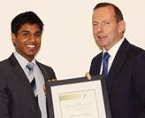 Mr Kumaran Nathan with Prime Minister Tony Abbott