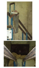 Figure 2 a: Photographs of the testing apparatus. Top: view of the top part of the ramp: spinning device with cover and release mechanism. Bottom: view of the steel channels making the ramp.