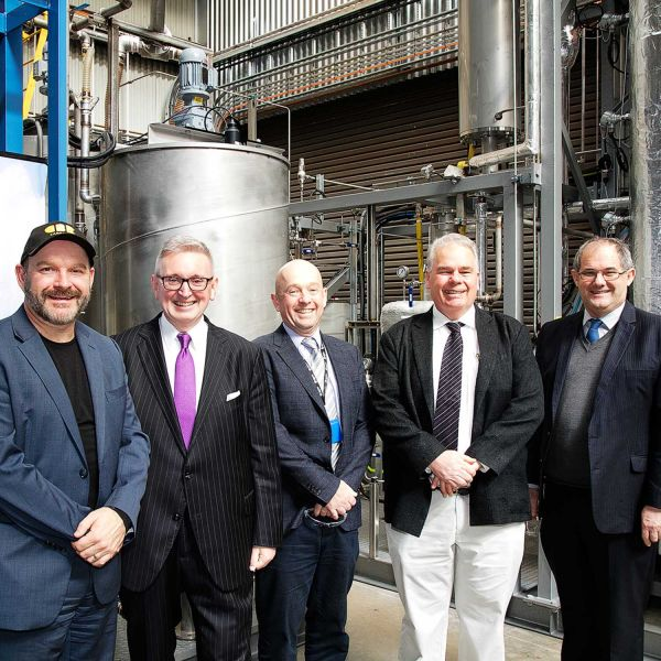 MCi CEO Marcus Dawe, NSW Minister for Resources Donald Harwin, UON lead researchers Professor Michael Stockenhuber and Eric Kennedy, NIER Director Professor Alan Broadfoot