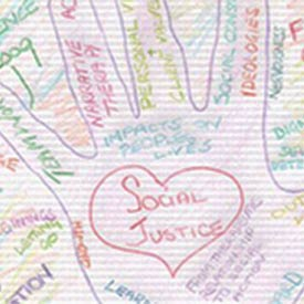Student Reflections - Drawing of a hand with Social Justice written on it.